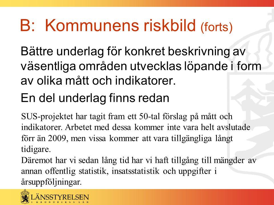 B: Kommunens riskbild (forts) Bättre underlag för konkret beskrivning av väsentliga områden utvecklas löpande i form av olika mått och indikatorer. En