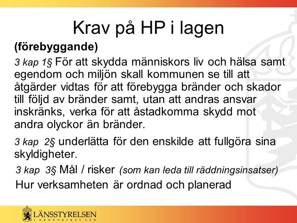 Krav på HP i lagen (förebyggande) 3 kap 1§ För att skydda människors liv och hälsa samt egendom och miljön skall kommunen se till att åtgärder vidtas