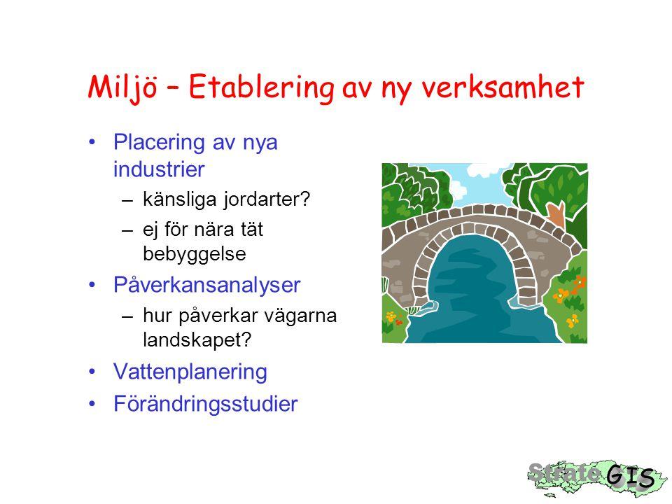 Miljö – Etablering av ny verksamhet Placering av nya industrier –känsliga jordarter? –ej för nära tät bebyggelse Påverkansanalyser –hur påverkar vägar