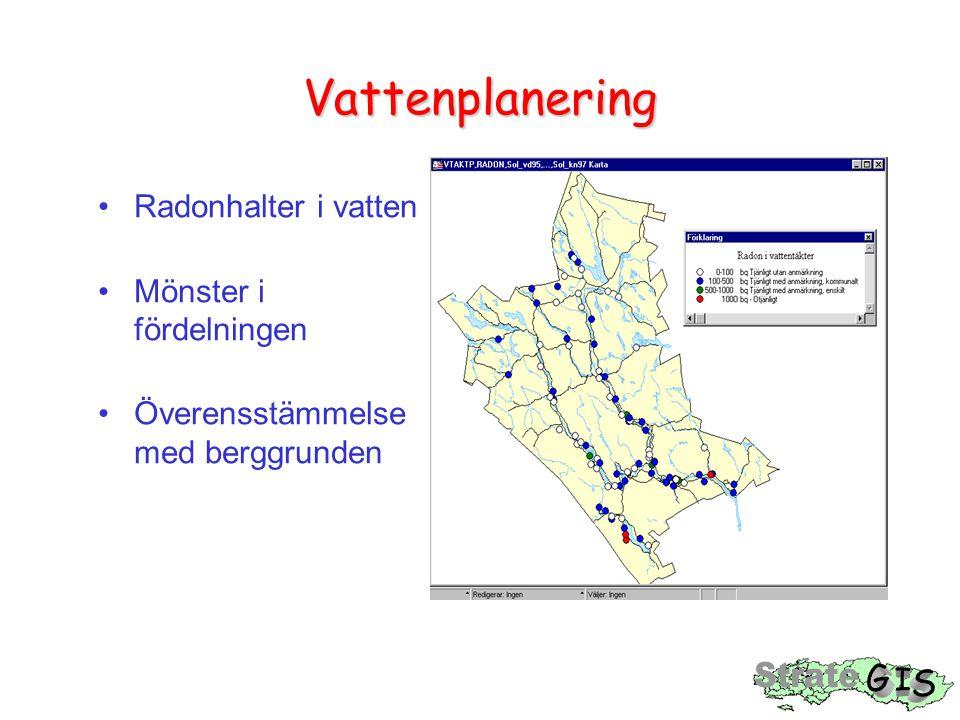 Vattenplanering Radonhalter i vatten Mönster i fördelningen Överensstämmelse med berggrunden