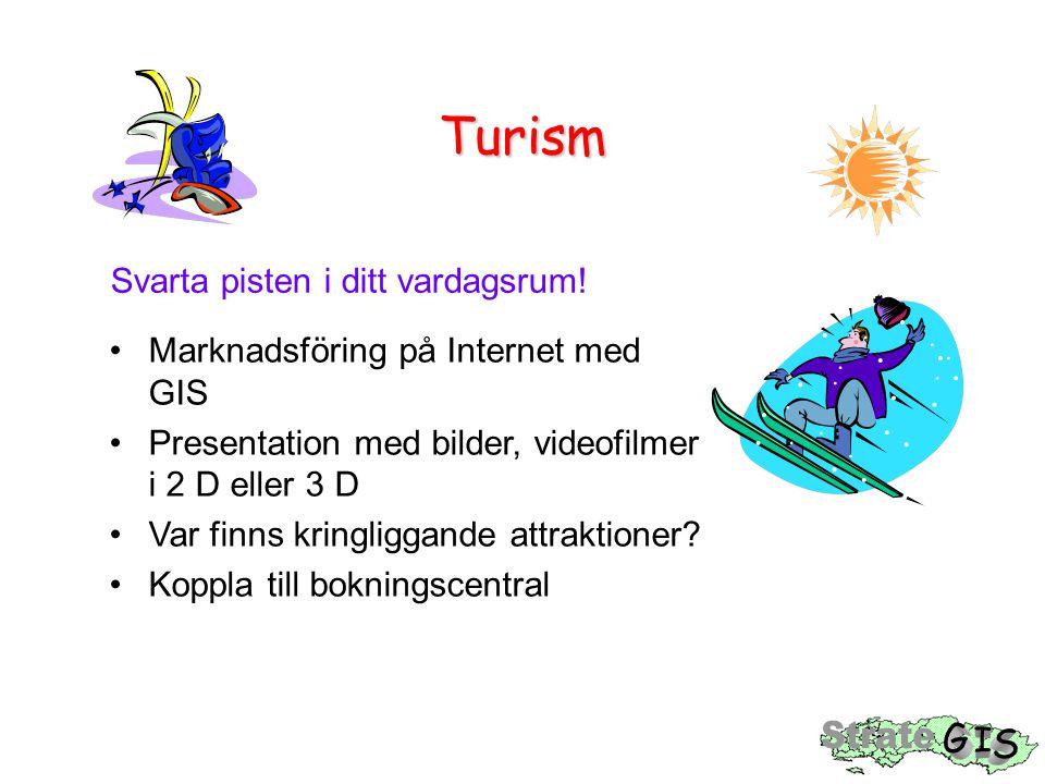 Turism Svarta pisten i ditt vardagsrum! Marknadsföring på Internet med GIS Presentation med bilder, videofilmer i 2 D eller 3 D Var finns kringliggand