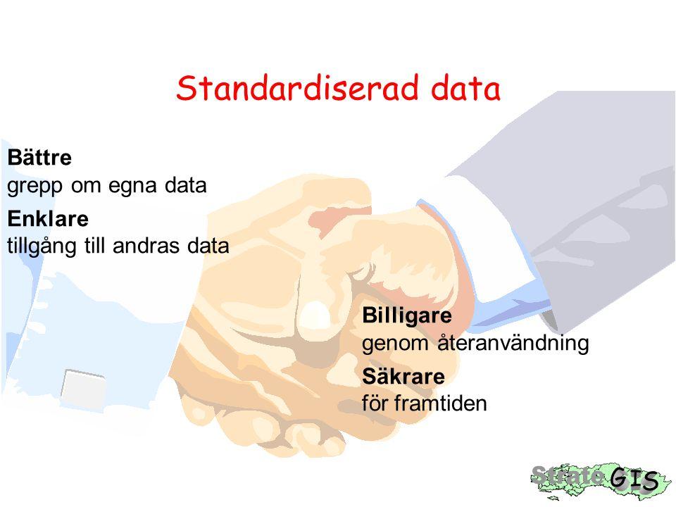Standardiserad data Bättre grepp om egna data Enklare tillgång till andras data Billigare genom återanvändning Säkrare för framtiden
