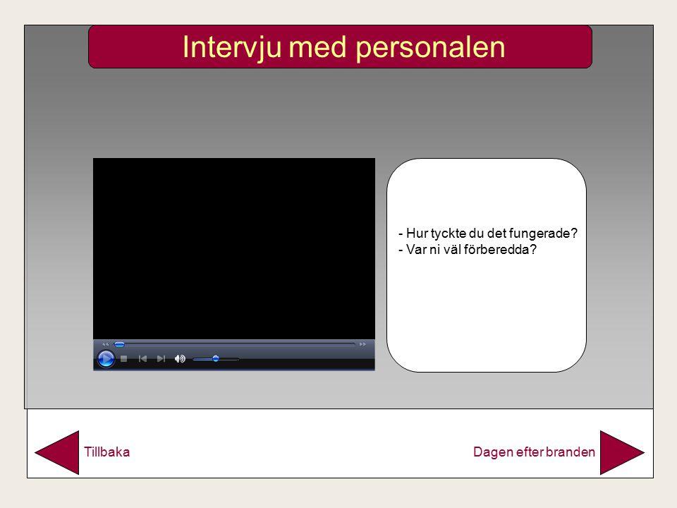 Intervju med personalen Dagen efter brandenTillbaka - Hur tyckte du det fungerade.