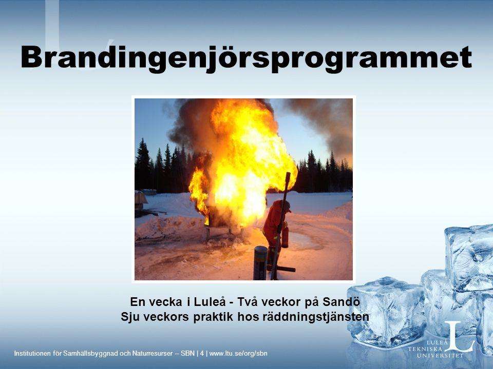 Institutionen för Samhällsbyggnad och Naturresurser – SBN | 4 | www.ltu.se/org/sbn En vecka i Luleå - Två veckor på Sandö Sju veckors praktik hos räddningstjänsten Brandingenjörsprogrammet