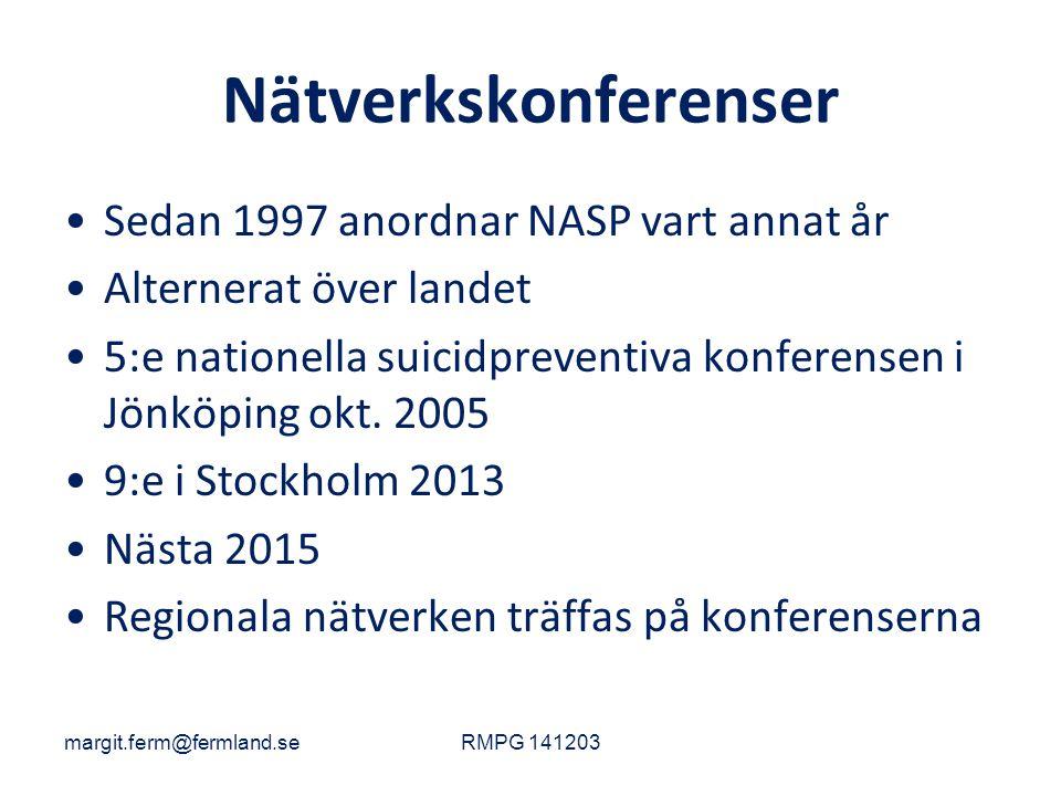 Nätverkskonferenser Sedan 1997 anordnar NASP vart annat år Alternerat över landet 5:e nationella suicidpreventiva konferensen i Jönköping okt. 2005 9: