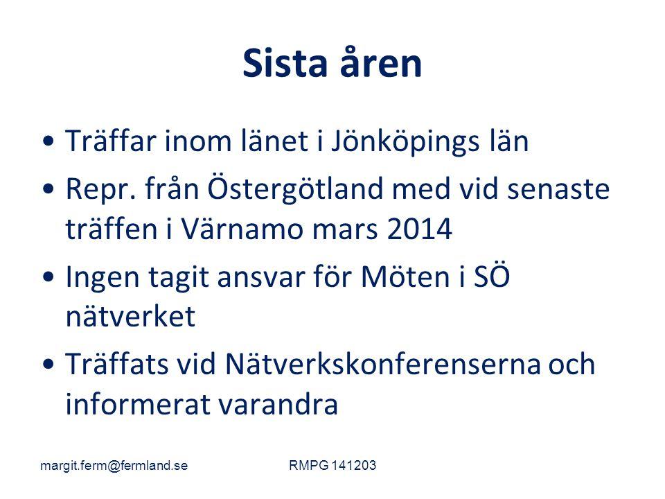 Sista åren Träffar inom länet i Jönköpings län Repr. från Östergötland med vid senaste träffen i Värnamo mars 2014 Ingen tagit ansvar för Möten i SÖ n