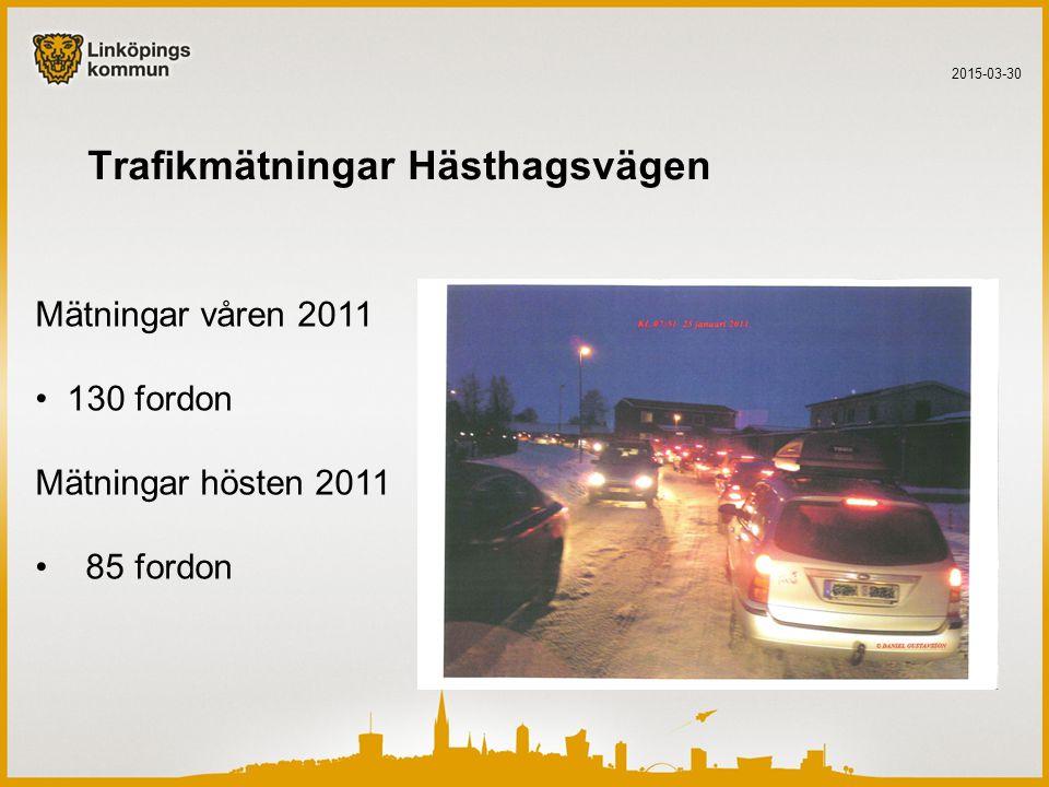 Trafikmätningar Hästhagsvägen 2015-03-30 Mätningar våren 2011 130 fordon Mätningar hösten 2011 85 fordon