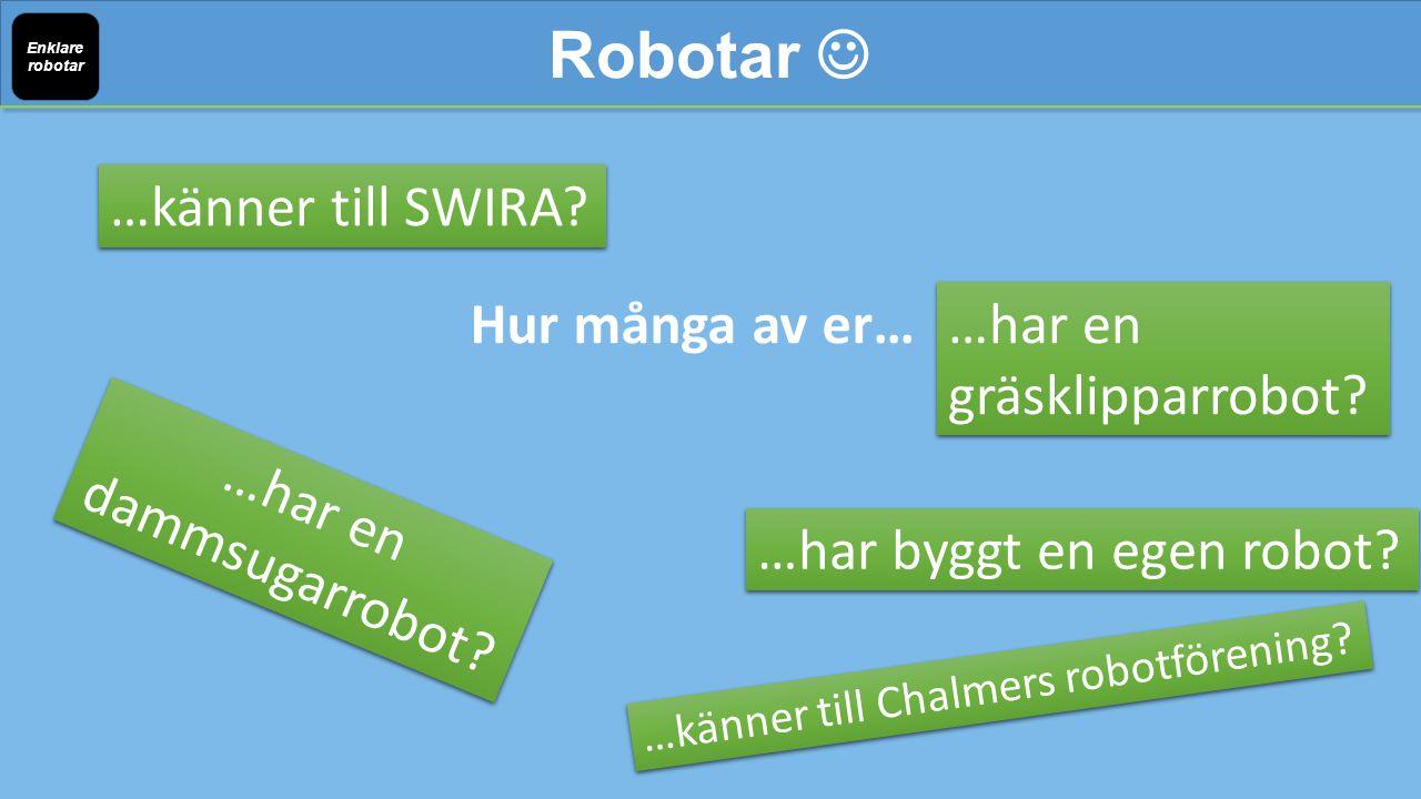 Hur många av er… Robotar Enklare robotar …känner till SWIRA.