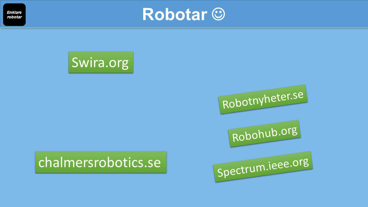 Robotar Enklare robotar chalmersrobotics.se Swira.org Robotnyheter.se Robohub.org Spectrum.ieee.org