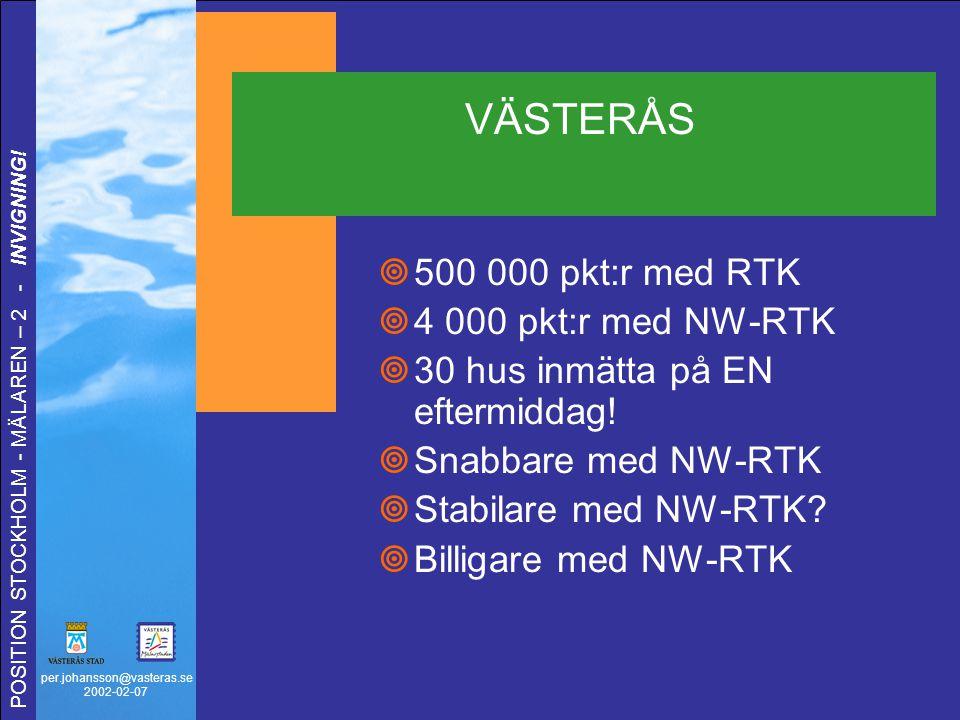 per.johansson@vasteras.se 2002-02-07 POSITION STOCKHOLM - MÄLAREN – 2 - INVIGNING! VÄSTERÅS  500 000 pkt:r med RTK  4 000 pkt:r med NW-RTK  30 hus