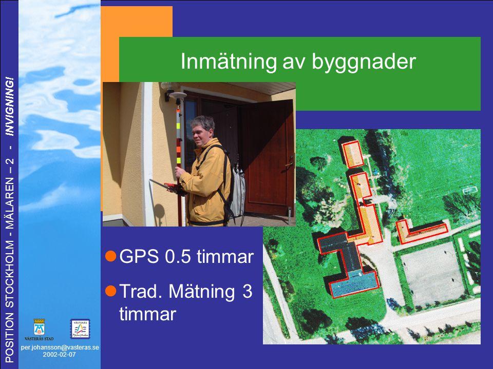 per.johansson@vasteras.se 2002-02-07 POSITION STOCKHOLM - MÄLAREN – 2 - INVIGNING! Inmätning av byggnader GPS 0.5 timmar Trad. Mätning 3 timmar