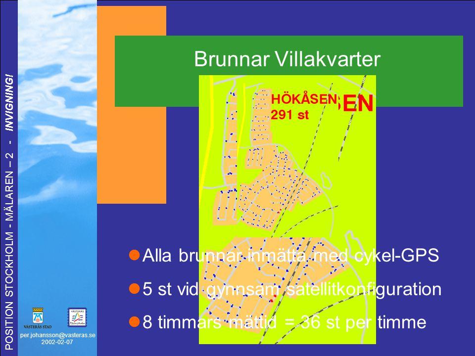 per.johansson@vasteras.se 2002-02-07 POSITION STOCKHOLM - MÄLAREN – 2 - INVIGNING! Brunnar Villakvarter Alla brunnar inmätta med cykel-GPS 5 st vid gy