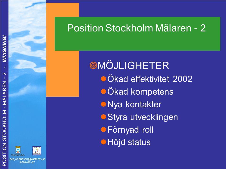 per.johansson@vasteras.se 2002-02-07 POSITION STOCKHOLM - MÄLAREN – 2 - INVIGNING!  MÖJLIGHETER Ökad effektivitet 2002 Ökad kompetens Nya kontakter S