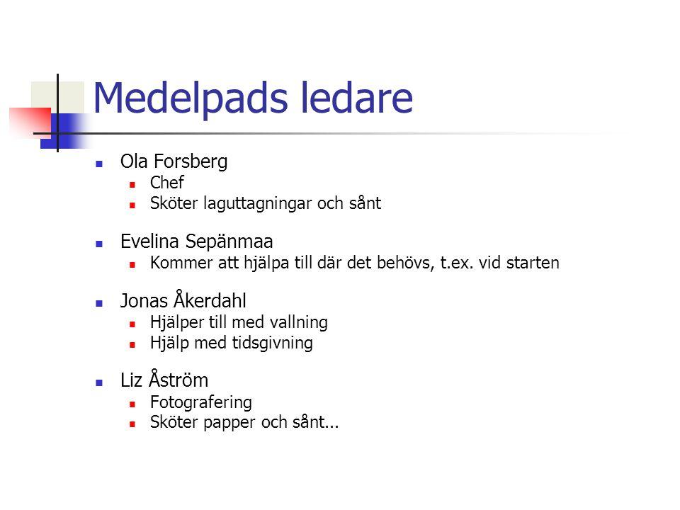 Medelpads ledare Ola Forsberg Chef Sköter laguttagningar och sånt Evelina Sepänmaa Kommer att hjälpa till där det behövs, t.ex.