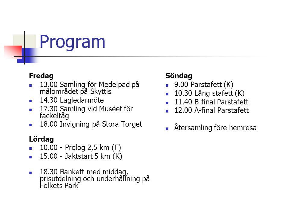Program Fredag 13.00 Samling för Medelpad på målområdet på Skyttis 14.30 Lagledarmöte 17.30 Samling vid Muséet för fackeltåg 18.00 Invigning på Stora Torget Lördag 10.00 - Prolog 2,5 km (F) 15.00 - Jaktstart 5 km (K) 18.30 Bankett med middag, prisutdelning och underhållning på Folkets Park Söndag 9.00 Parstafett (K) 10.30 Lång stafett (K) 11.40 B-final Parstafett 12.00 A-final Parstafett Återsamling före hemresa