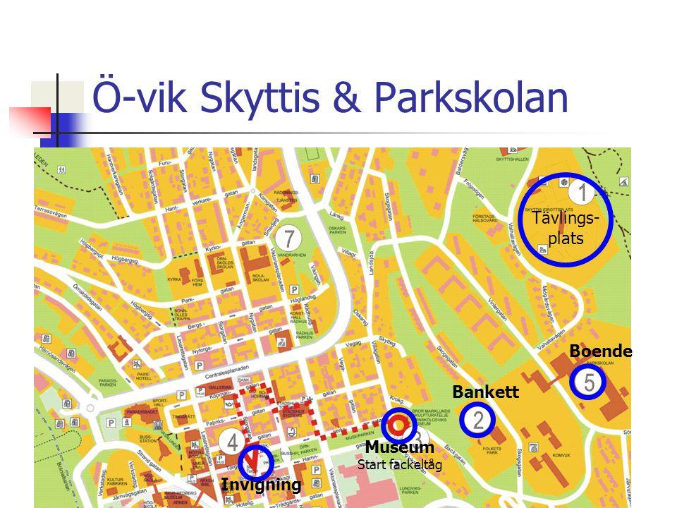Ö-vik Skyttis & Parkskolan Boende Tävlings- plats Bankett Museum Start fackeltåg Invigning