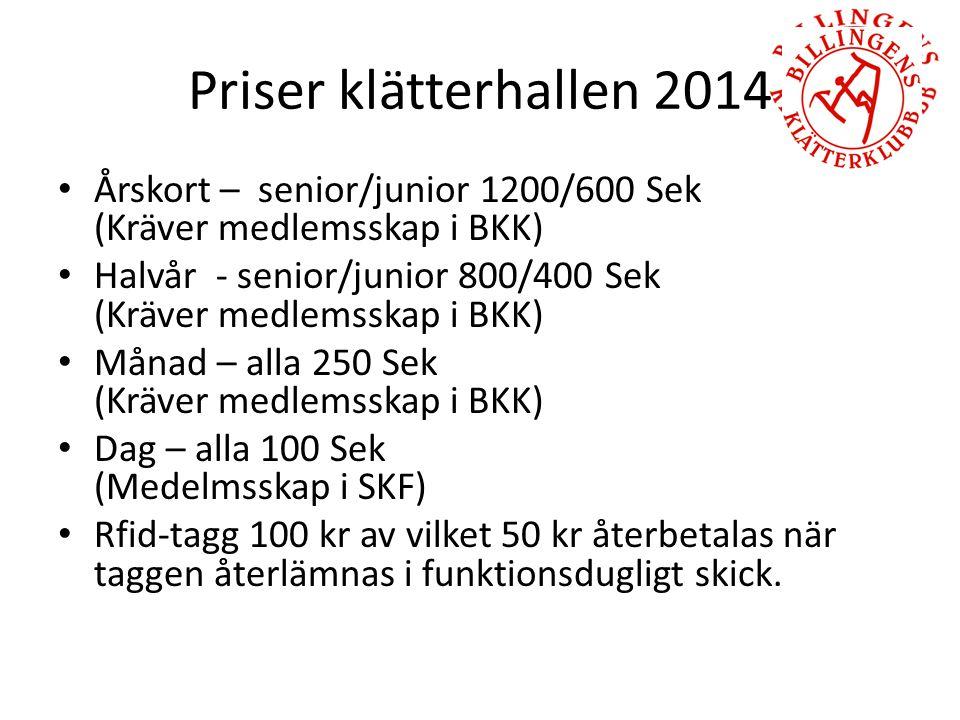 Priser klätterhallen 2014 Årskort – senior/junior 1200/600 Sek (Kräver medlemsskap i BKK) Halvår - senior/junior 800/400 Sek (Kräver medlemsskap i BKK