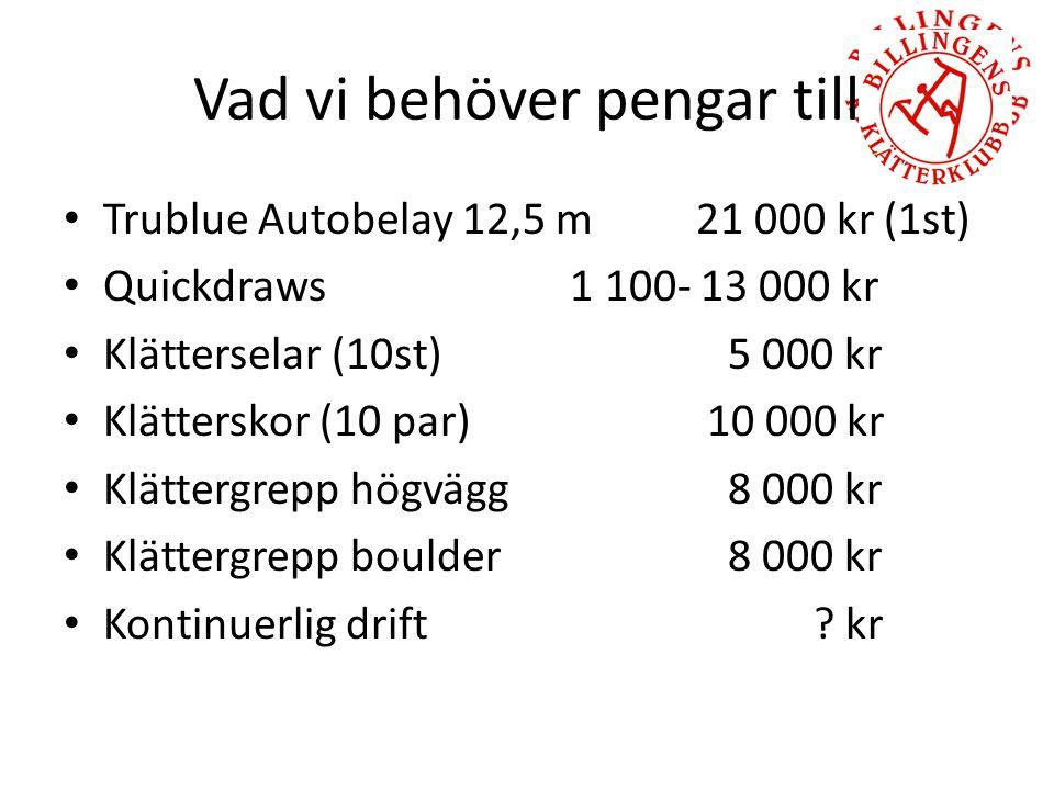 Vad vi behöver pengar till Trublue Autobelay 12,5 m21 000 kr (1st) Quickdraws 1 100- 13 000 kr Klätterselar (10st) 5 000 kr Klätterskor (10 par) 10 000 kr Klättergrepp högvägg 8 000 kr Klättergrepp boulder 8 000 kr Kontinuerlig drift .