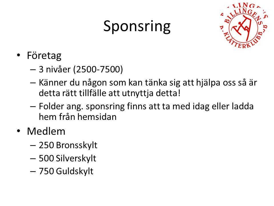 Sponsring Företag – 3 nivåer (2500-7500) – Känner du någon som kan tänka sig att hjälpa oss så är detta rätt tillfälle att utnyttja detta.
