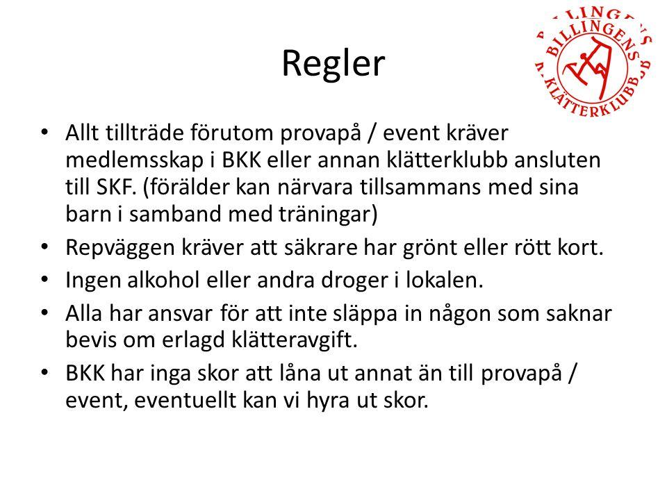 Regler Allt tillträde förutom provapå / event kräver medlemsskap i BKK eller annan klätterklubb ansluten till SKF.