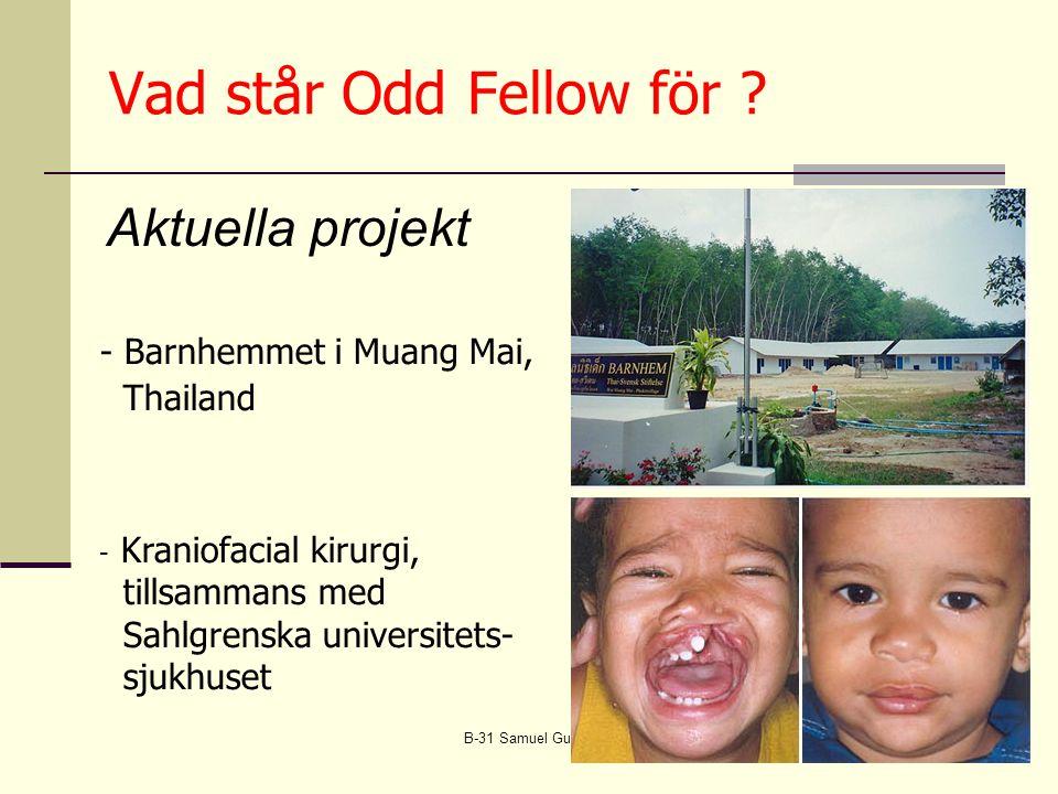 B-31 Samuel Gustaf Hermelin10 - Barnhemmet i Muang Mai, Thailand - Kraniofacial kirurgi, tillsammans med Sahlgrenska universitets- sjukhuset Aktuella projekt Vad står Odd Fellow för ?