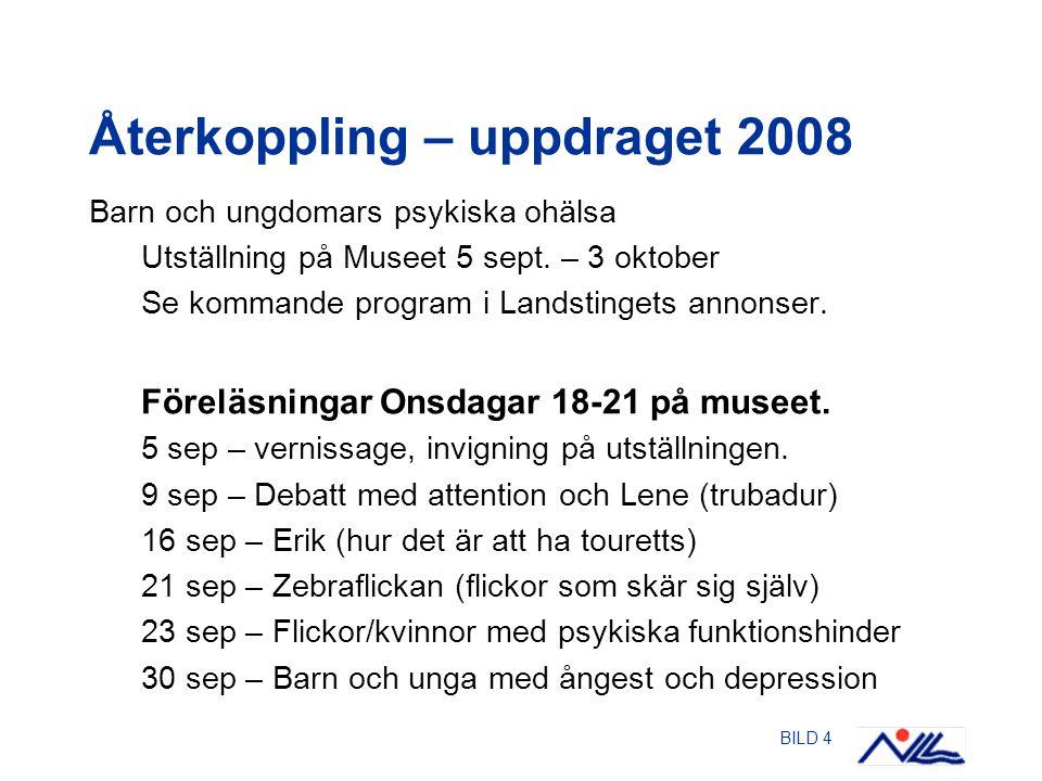 BILD 4 Återkoppling – uppdraget 2008 Barn och ungdomars psykiska ohälsa Utställning på Museet 5 sept.