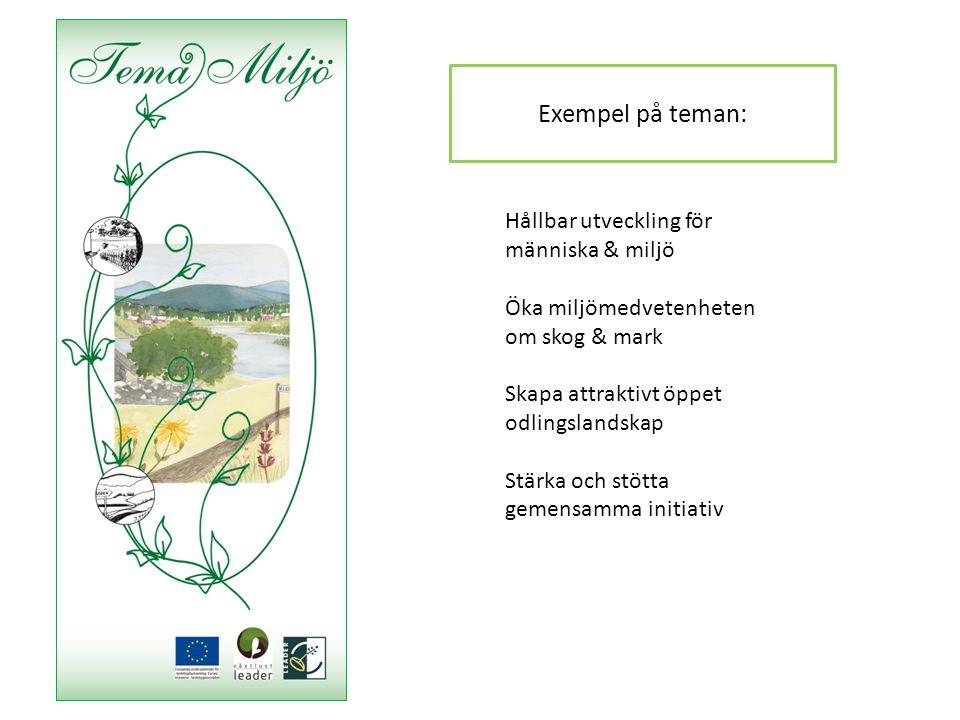 Hållbar utveckling för människa & miljö Öka miljömedvetenheten om skog & mark Skapa attraktivt öppet odlingslandskap Stärka och stötta gemensamma initiativ Exempel på teman: