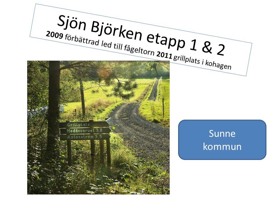 Sjön Björken etapp 1 & 2 2009 förbättrad led till fågeltorn 2011 grillplats i kohagen Sunne kommun
