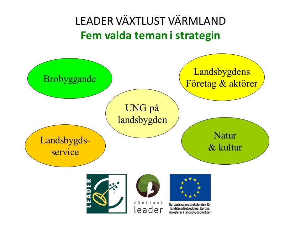 LEADER VÄXTLUST VÄRMLAND Fem valda teman i strategin Landsbygdens Företag & aktörer Natur & kultur UNG på landsbygden Brobyggande Landsbygds- service