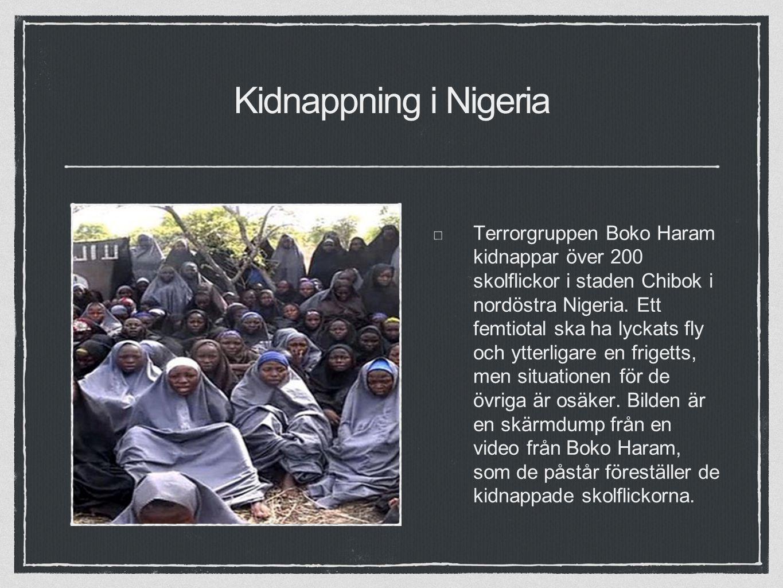 Kidnappning i Nigeria Terrorgruppen Boko Haram kidnappar över 200 skolflickor i staden Chibok i nordöstra Nigeria.