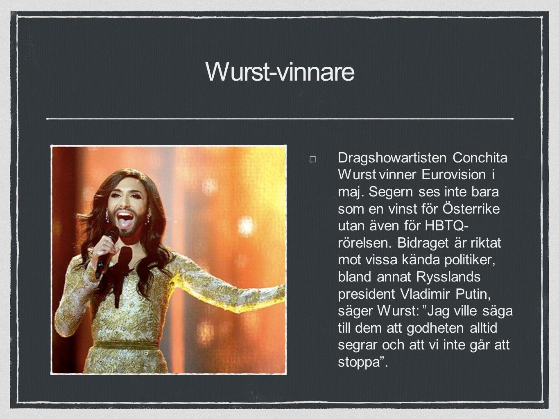 Wurst-vinnare Dragshowartisten Conchita Wurst vinner Eurovision i maj.