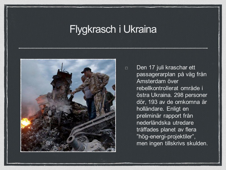 Flygkrasch i Ukraina Den 17 juli kraschar ett passagerarplan på väg från Amsterdam över rebellkontrollerat område i östra Ukraina.