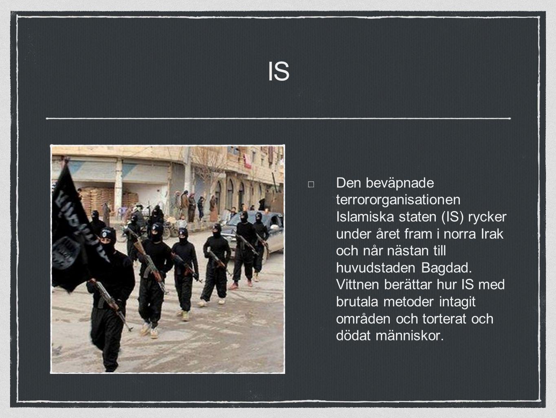 IS Den beväpnade terrororganisationen Islamiska staten (IS) rycker under året fram i norra Irak och når nästan till huvudstaden Bagdad.