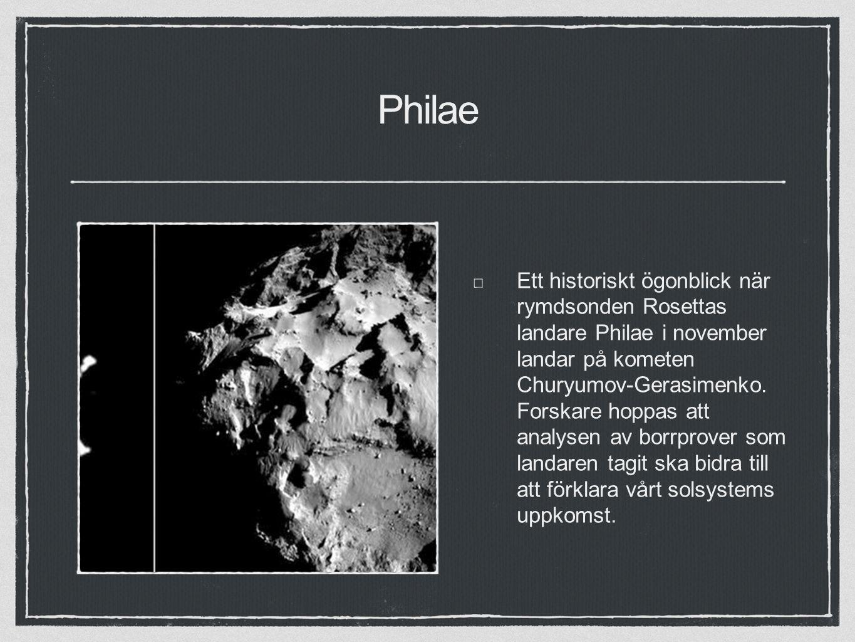 Philae Ett historiskt ögonblick när rymdsonden Rosettas landare Philae i november landar på kometen Churyumov-Gerasimenko.