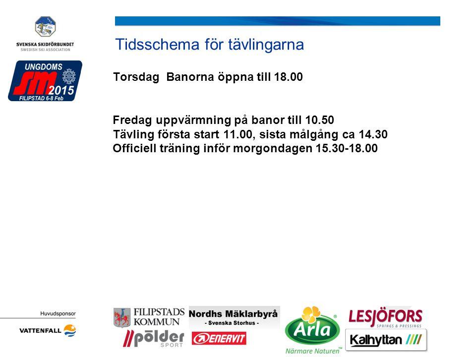 Tidsschema för tävlingarna Torsdag Banorna öppna till 18.00 Fredag uppvärmning på banor till 10.50 Tävling första start 11.00, sista målgång ca 14.30 Officiell träning inför morgondagen 15.30-18.00 Arrangörens logotyp ej har det )
