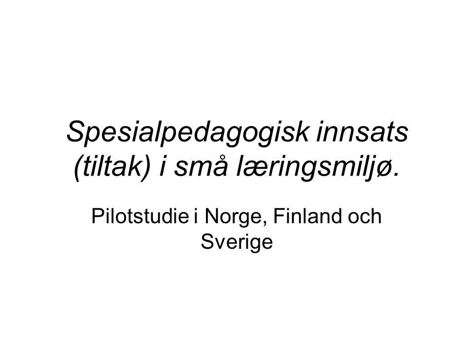 Spesialpedagogisk innsats (tiltak) i små læringsmiljø. Pilotstudie i Norge, Finland och Sverige