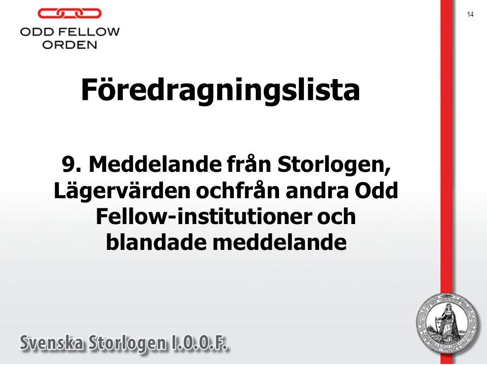14 Föredragningslista 9. Meddelande från Storlogen, Lägervärden ochfrån andra Odd Fellow-institutioner och blandade meddelande