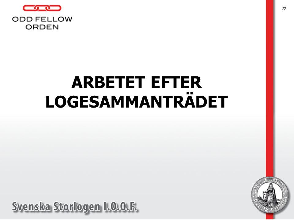 ARBETET EFTER LOGESAMMANTRÄDET 22