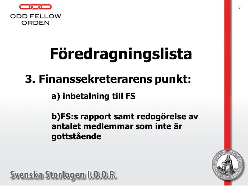 6 Föredragningslista 3. Finanssekreterarens punkt: a) inbetalning till FS b)FS:s rapport samt redogörelse av antalet medlemmar som inte är gottstående