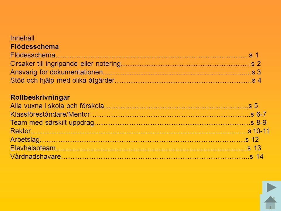Innehåll Flödesschema Flödesschema………………………………………………………………………..s 1 Orsaker till ingripande eller notering………………………………………………..s 2 Ansvarig för dokument