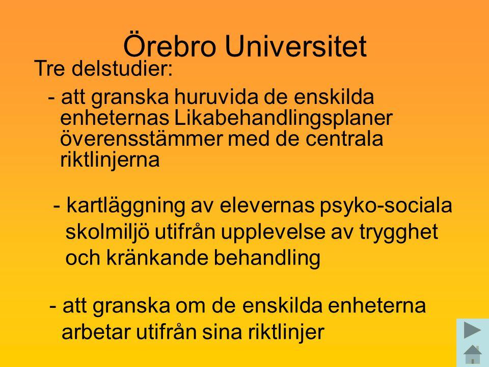 Örebro Universitet - att granska huruvida de enskilda enheternas Likabehandlingsplaner överensstämmer med de centrala riktlinjerna Tre delstudier: - k