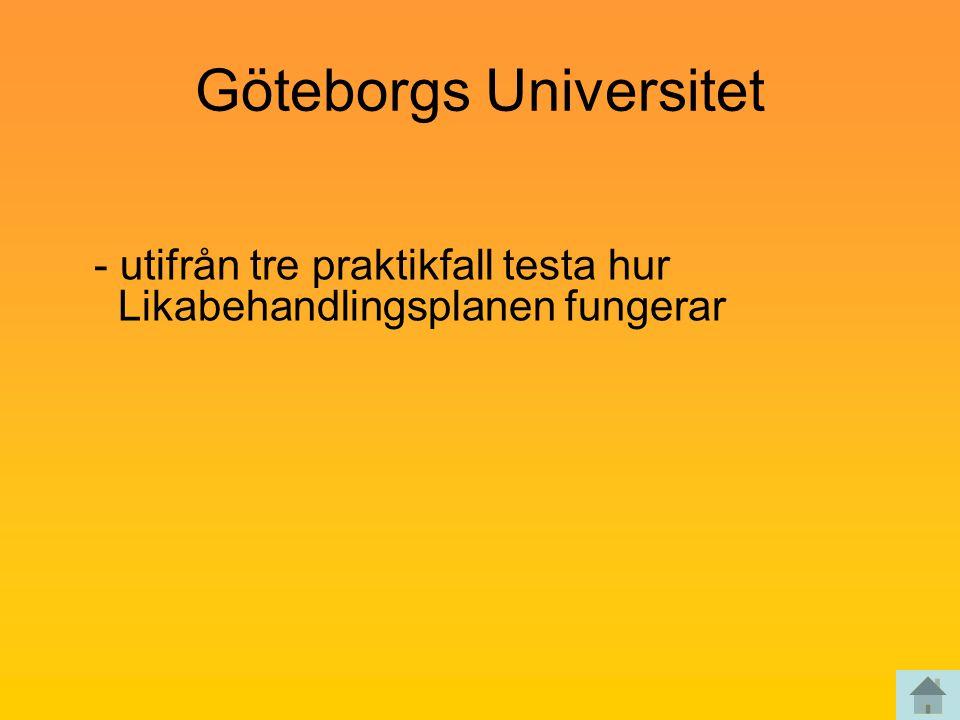 Göteborgs Universitet - utifrån tre praktikfall testa hur Likabehandlingsplanen fungerar
