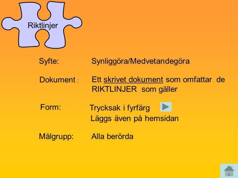 Syfte:Synliggöra/Medvetandegöra Dokument : Ett skrivet dokument som omfattar de RIKTLINJER som gäller Form: Trycksak i fyrfärg Läggs även på hemsidan