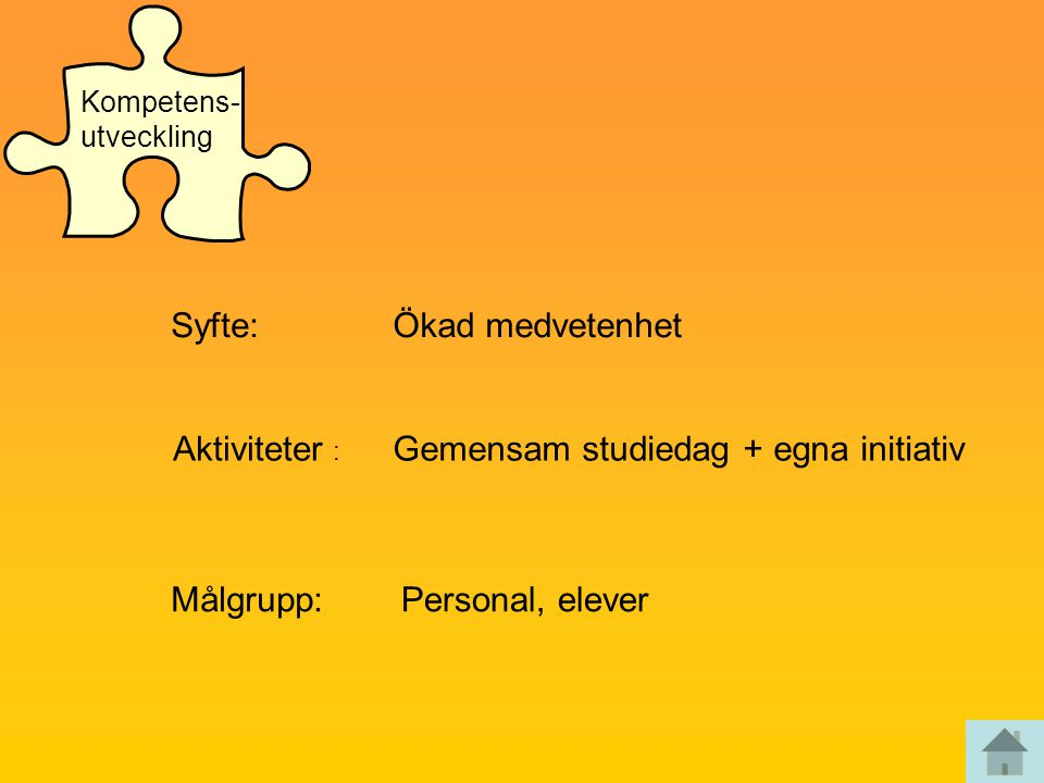 Syfte:Ökad medvetenhet Aktiviteter : Gemensam studiedag + egna initiativ Målgrupp:Personal, elever Kompetens- utveckling