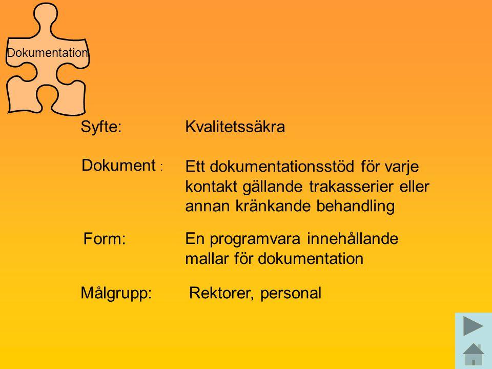 Syfte:Kvalitetssäkra Dokument : Ett dokumentationsstöd för varje kontakt gällande trakasserier eller annan kränkande behandling Form: En programvara i