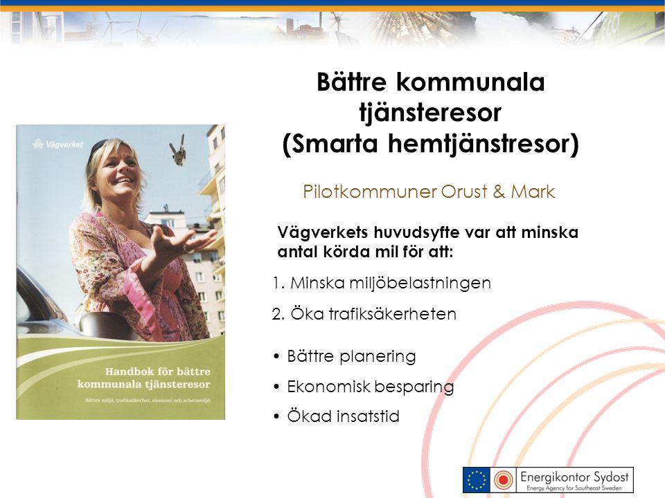 1. Minska miljöbelastningen 2. Öka trafiksäkerheten Vägverkets huvudsyfte var att minska antal körda mil för att: Pilotkommuner Orust & Mark Bättre ko