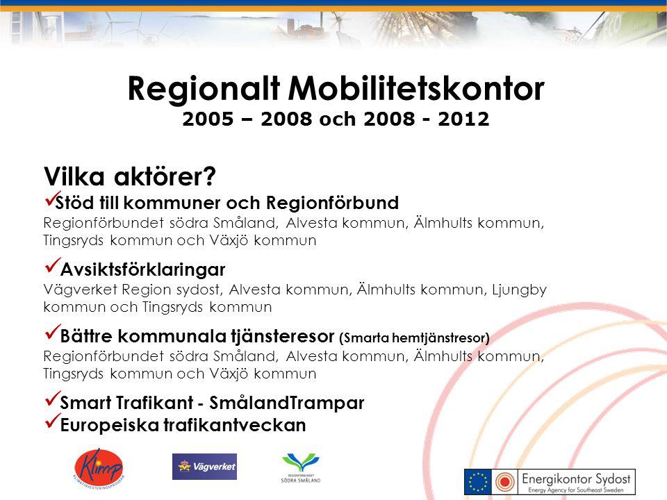 Regionalt Mobilitetskontor 2005 – 2008 och 2008 - 2012 Vilka aktörer? Stöd till kommuner och Regionförbund Regionförbundet södra Småland, Alvesta komm