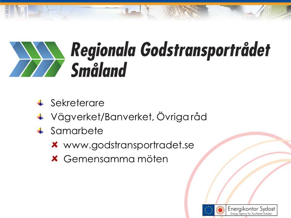 Sekreterare Vägverket/Banverket, Övriga råd Samarbete www.godstransportradet.se Gemensamma möten