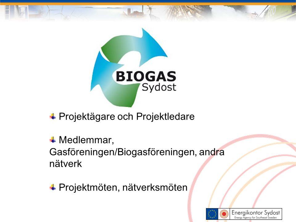 Projektägare och Projektledare Medlemmar, Gasföreningen/Biogasföreningen, andra nätverk Projektmöten, nätverksmöten