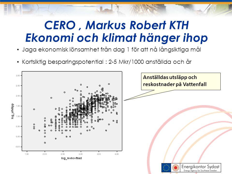 CERO, Markus Robert KTH Ekonomi och klimat hänger ihop Jaga ekonomisk lönsamhet från dag 1 för att nå långsiktiga mål Kortsiktig besparingspotential : 2-5 Mkr/1000 anställda och år Anställdas utsläpp och reskostnader på Vattenfall